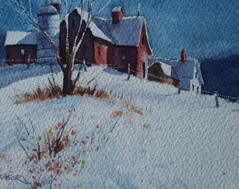 Red Farm House in Winter
