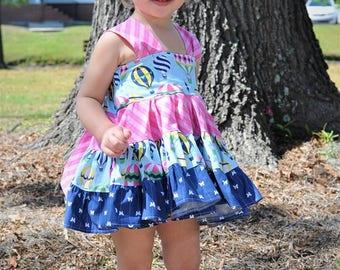 Girls Hot Air Balloon Top -  Girls Top -  Twirl Dress- Tunic Twirl - Girls Summer Dress - Girls Summer Top - Balloon Top - Party Dress