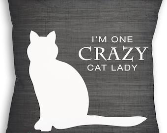 Crazy Cat Lady Pillow - Cat Decor - Cat Pillow - Custom Pillow - Decorative Pillow - Throw Pillow - Cat Gift - Home Decor