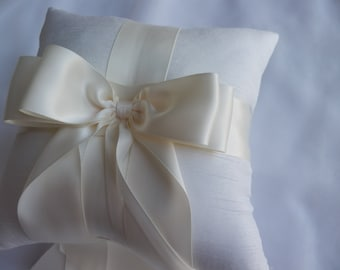 Ring Bearer Pillow Ivory Ring Pillow with Ivory Satin Ribbon