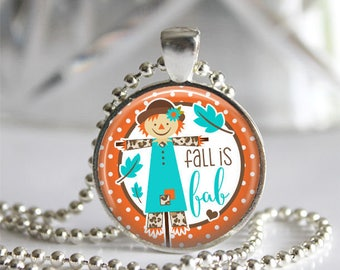 Fall Is Fab Glass Tile Silver Bezel Pendant Necklace, Scarecrow Autumn Jewelry