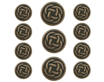 11 pc Celtic Knot Metal Blazer Button Set Antique Brass Color