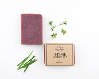 Citronella Soap,Thyme Soap, Natural Soap, Scented Soap,Handmade Soap, Vegan Soap, Palm Free Soap,  Fragranced Soap, Warming, All Skin Types