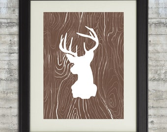 Deer Silhouette Faux Bois Watercolor Style Printable  Art in Bronze- Instant Download