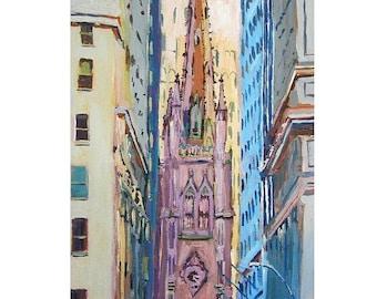 Trinity Church New York Art NYC Art Wall Street, lower manhattan Art  Fine Art Print 5x7, 8x10, or 11x14 pastel Painting by Gwen Meyerson