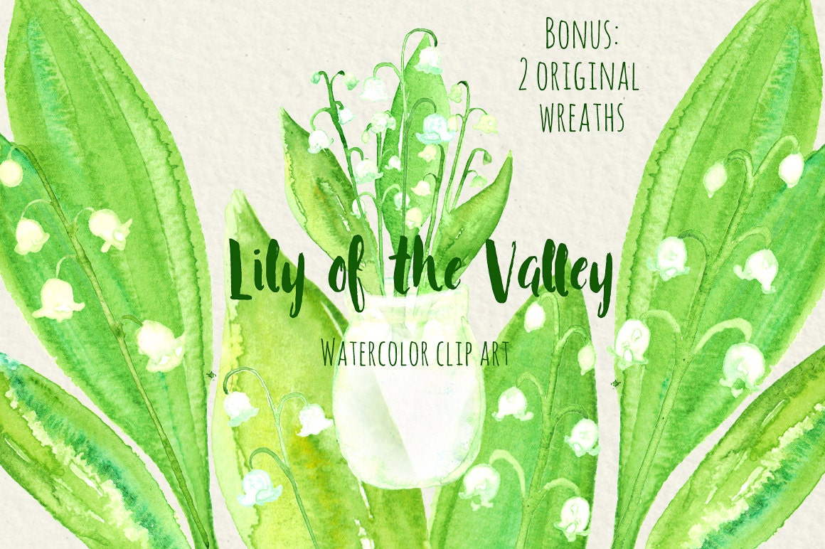 Lily of the valley watercolor digital clip art lily of the zoom izmirmasajfo Gallery