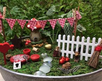 DIY Heart Themed fairy garden accessories, love fairy garden, valentines accessories, Mothers day gift, Build your own fairy garden.