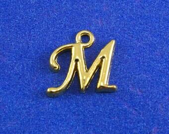 1 or 4 pcs- Gold Script Initial M, Gold Plate Alphabet Charm M, Letter M, Monogram M