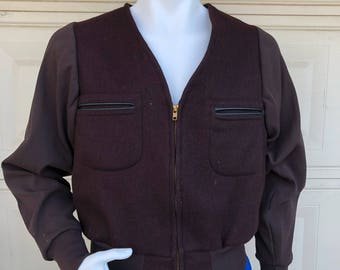 Vintage 70s Mens Wool Jacket 1970s Zip Up Eggplant Jacket by West Point Size 38R-40R