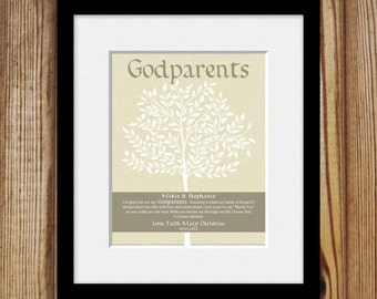 Personalized Gift for Godparents, Godparents Poem, Gift from Godchild, GODPARENTS GIFT, Frameable Godparents Thank You Gift