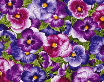Pansy Purple Color ~ Viola Collection ~ Timeless Treasures Collection, Cotton Quilt Fabric