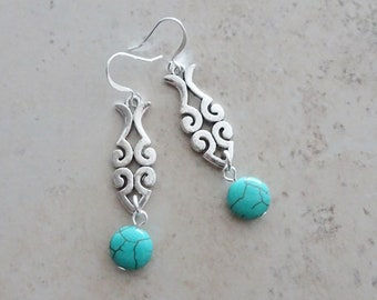 Silver and Turquoise Dangle Earrings - Silver Earrings - Turquoise Earrings - Boho - Summer Earrings - Beach - Magnesite Earrings