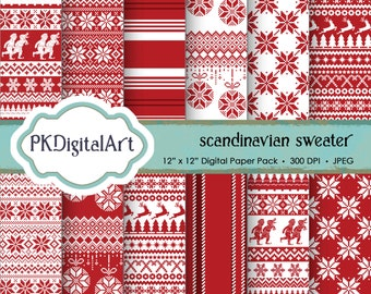 "Scandinavian Sweater Digital Paper - ""Scandinavian Christmas Sweater""  Scrapbook Paper Backgrounds Design Projects Crafting Supplies"