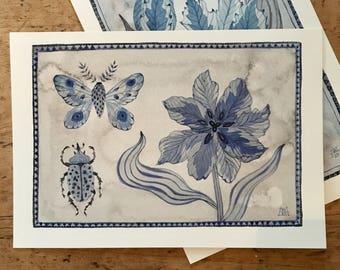 Tulipa No. 1, original watercolor painting, botanical painting, floral art