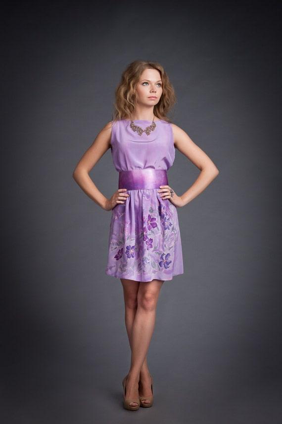 Vestido de seda pintado a mano. Vestido seda verano. Vestido