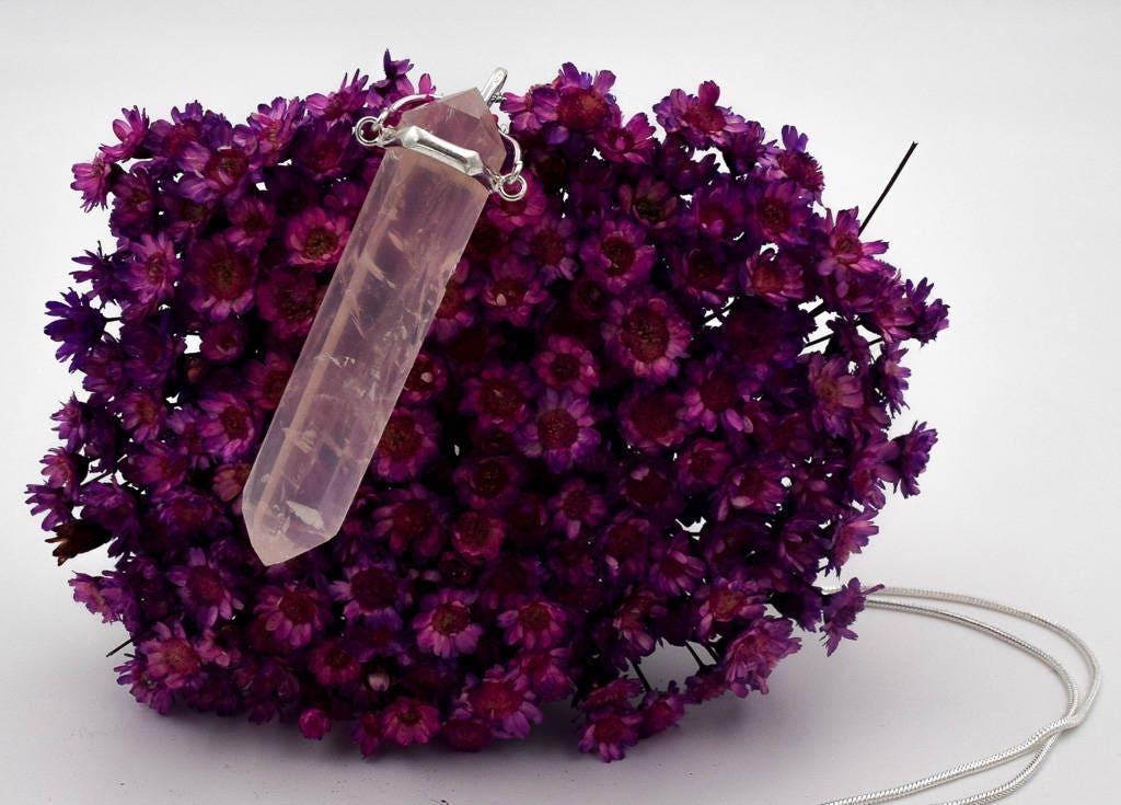 Rose quartz point necklace doubly terminated amethyst precious rose quartz point necklace doubly terminated amethyst precious stones necklace rose quartz jewelry crystal pendant mozeypictures Images