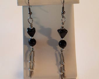 Simple Black and Silver Earrings
