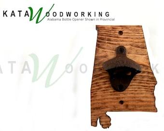 Alabama Wood Cut-out Bottle Opener - Wall Mount - Handmade!
