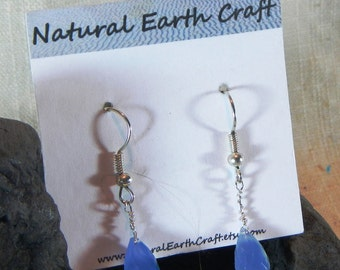 Medium blue lace agate dangle earrings blue chalcedony semiprecious stone jewelry packaged in a colorful gift bag  2281