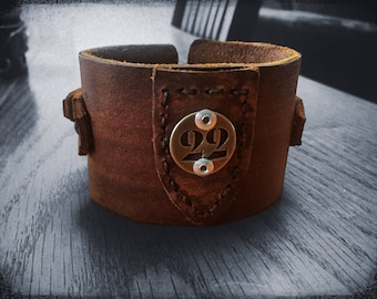 Post Apocalyptic Bunker 22 Leather Cuff Bracelet