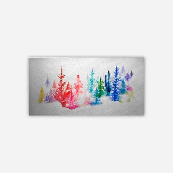 TREES - Aluminum Print with Float Bracket- Ready to Hang - Watercolor trees in Winter scene on Metal