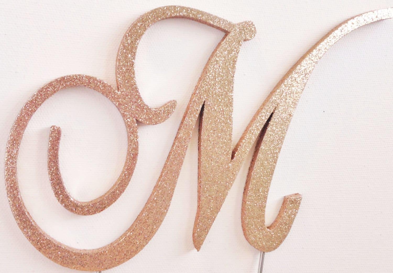 Rose Gold Glitter Monogram Wedding Cake Topper Wood All