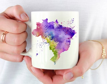 Brazil Mug - Brazil Lover Gift - Brazil Map Coffee Mug - Unique Brazil Gifts