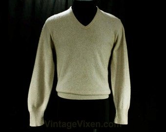 Men's Cashmere Sweater - 1950s Mens Beige Pullover - Small to Medium - Luxury Knitwear - Heathered Ecru 2-Ply Cashmere - Chest 41 - 47238