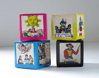 Vintage Tarot Cards Game, 70s Tarot Card Blocks, Fortune Telling Set, Fortune Teller Divination, Vintage Halloween Tarot Games,