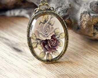 Signed 1928 Glass Rose Pendant and Chain - 1980s Pendant Necklace