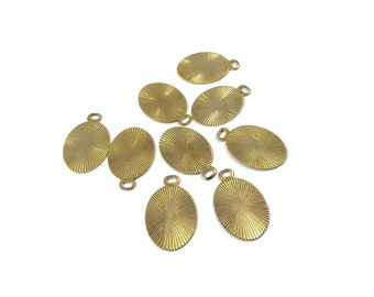 One dollar SALE Gold vintage oval charms