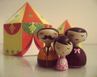 Custom Retro Family of 3 Art Doll Personalized  - FREE SHIPPING Wooden hand painted father mother girl retro vintage style