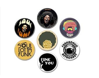 Soul Funk Groove buttons set 7 (25mm, badges, pins, funkadelic)
