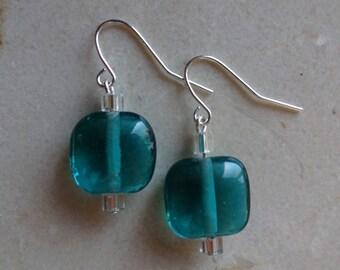 Aquamarine blue glass beaded earrings