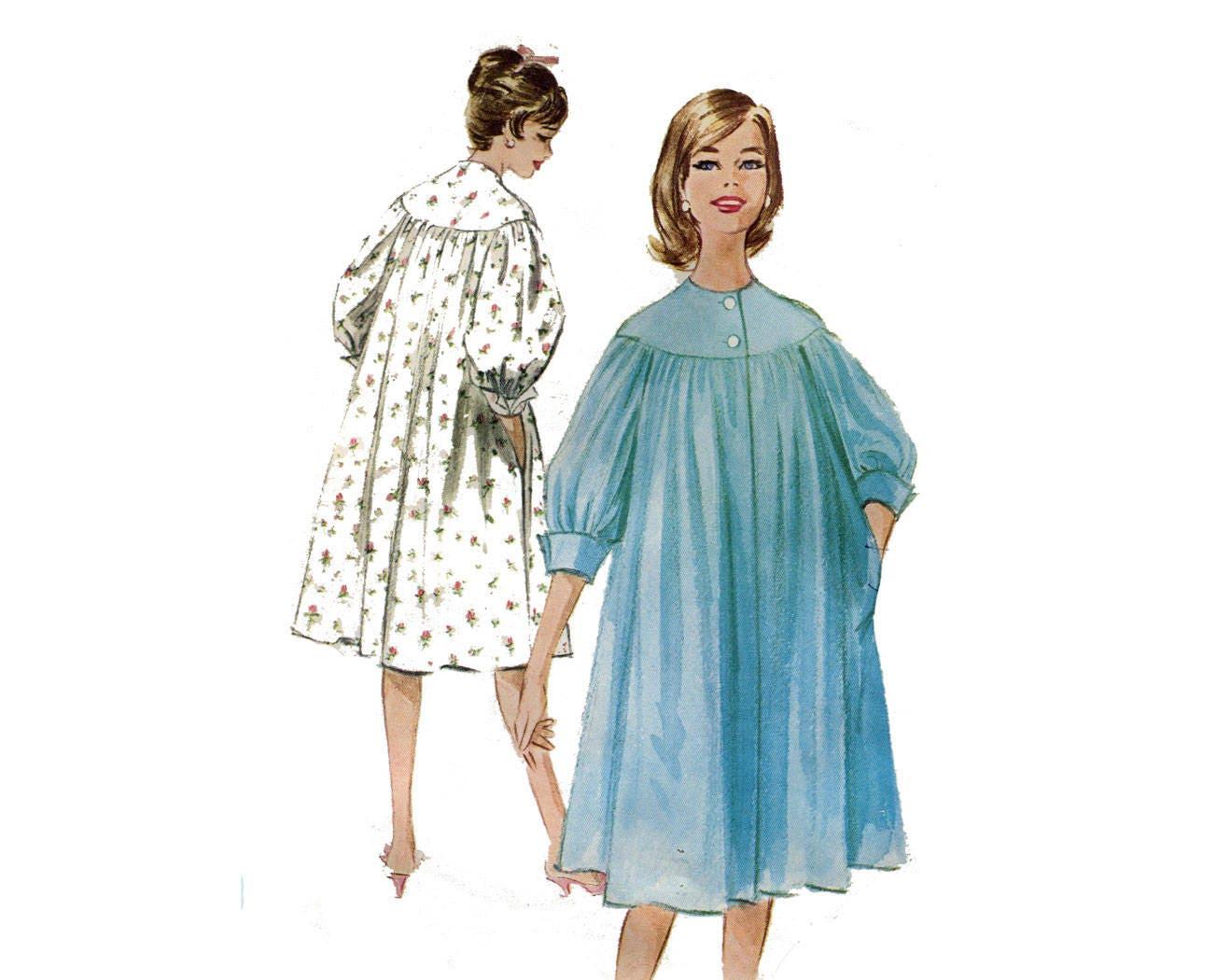 década de 1950 redondo yugo completo mangas tienda bata fácil patrón ...