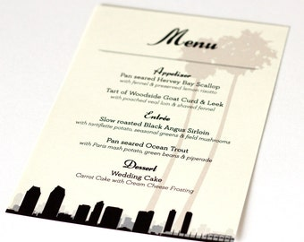 San Diego Menus Custom Wedding Decor Bridal Reception City Hometown Palm Tree Set 10