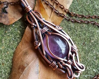Third Eye: natural amethyst cabochon in antiqued and polished copper wire
