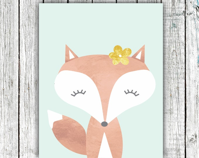 Girl's Nursery Wall Art Printable,Rose Gold Fox , Coral, Gold, Floral, Digital Download  #667