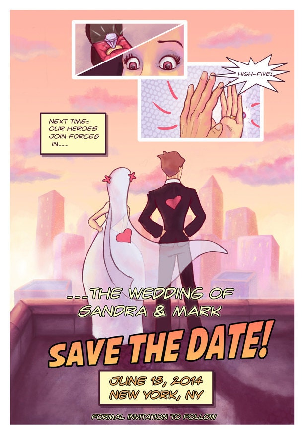 Comic Book Save the Date // Geeky Wedding Invite // Digital