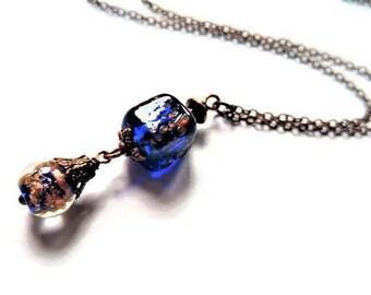 Blue Necklace Glass Jewelry Charm Necklace Minimalist Jewelry Copper Necklace Blue Jewelry Pendant Necklace Bead Jewelry Chain Necklace