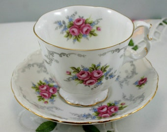 Lovely, Cute Teacup & Saucer, Gold Rims, Fine Bone English China made by Royal Albert in 1970s.