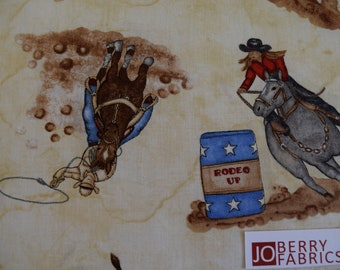 Rodeo Riders from the Rodeo up Collection by Denium and Dirt for Blank Quilting.  Quilt or Craft Fabric by the Yard.