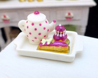 MTO-Tea Tray Set with French Pastries - Blackberry - 12th Scale Miniature Food