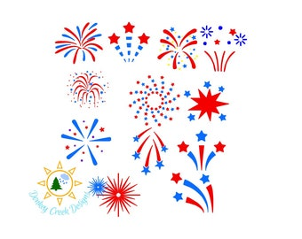 Fireworks SVG fourth of July silhouette cut file patriotic svg firecrackers  fireworks svg bundle Independence Day dxf png red white blue