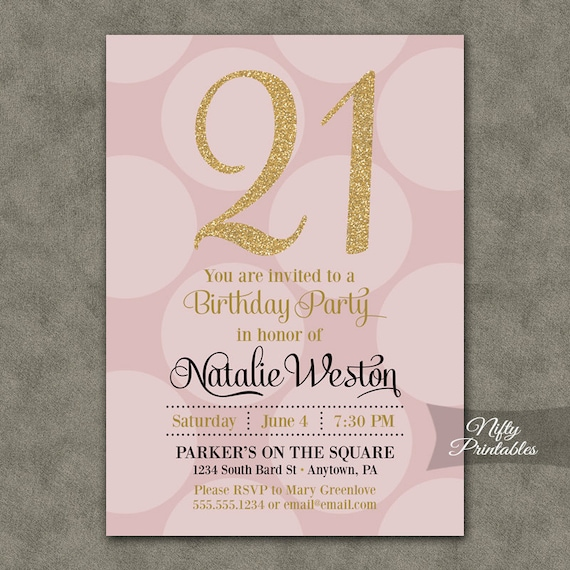 21st Birthday Invitations Pink Gold Twentyfirst Birthday