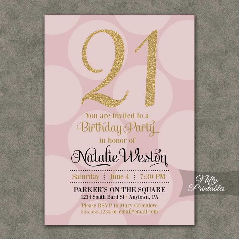 21st Birthday Invitations Pink & Gold Twenty-first Birthday