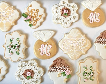 Monogram Wedding Cookies, Burlap cookie favors