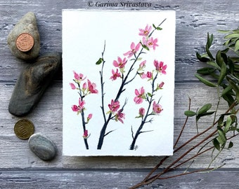 original cherry blossom flower watercolor art painting wall art pink sakura cheerful nursery botanical illustration small aquarelle