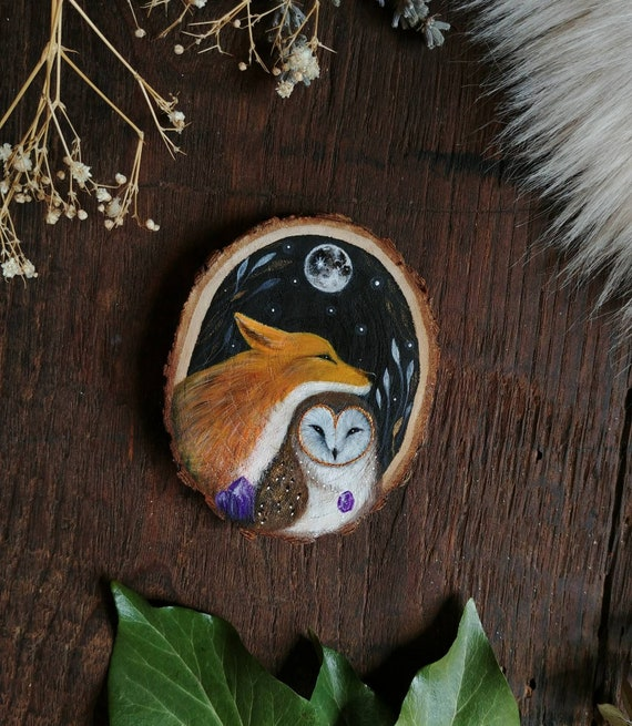 Owl and Fox, animal spirits, original art, wood painting, wooden slice, gift idea