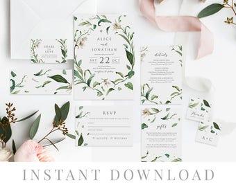 Green Leaves Wedding Invitation Set INSTANT DOWNLOAD, Wedding Invite, DIY Printable Invite, Templett, Editable pdf, Rustic Invites, Adore